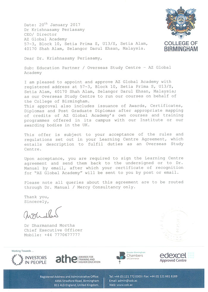 LETTER OF APPROVAL – COLLEGE OF BIRMINGHAM